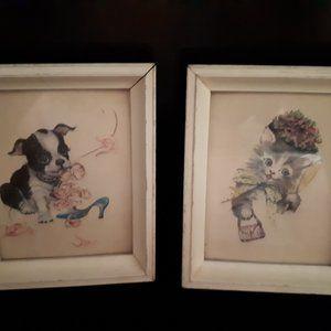 Two Vintage Framed Prints Cat and Dog